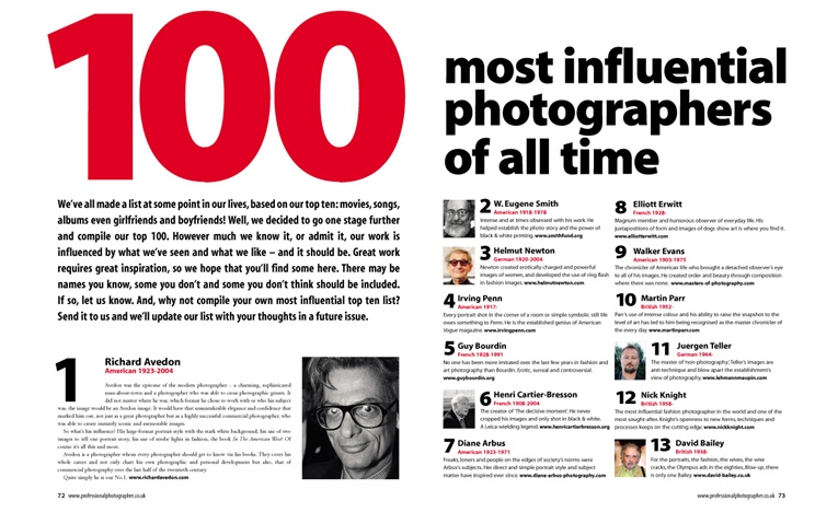 100 Most influential photographers of all time